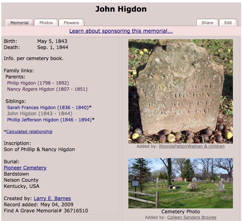012 John Higdon Find A Grave Memorial #36716510