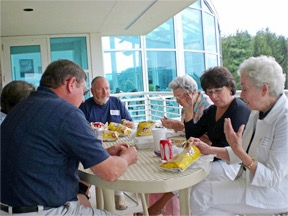05 From left - Charles P. Higdon; William R. Higdon; Eva Wood; Delores Elliot (Eva's Friend); and Barbara Tedford having lunch on the patio of the research facility