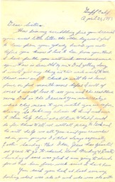 "1943-04-21 - letter K (letter ""I"" and ""J"" not used) - p. 1 - 2 pages - 3.25 X 6.125 bifolded on 6.125 X 9.625 paper"