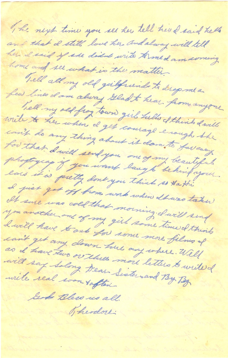 "1943-04-21 - letter K (letter ""I"" and ""J"" not used) - p. 2 - 2 pages - 3.25 X 6.125 bifolded on 6.125 X 9.625 paper"
