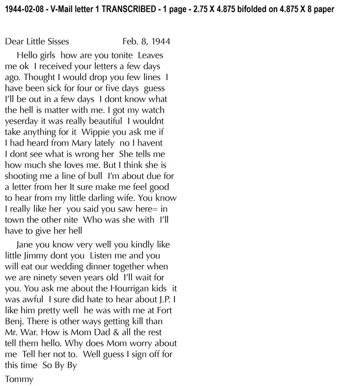 1944-02-08 - V-Mail letter 1 TRANSCRIBED - 1 page - 2.75 X 4.875 bifolded on 4-1