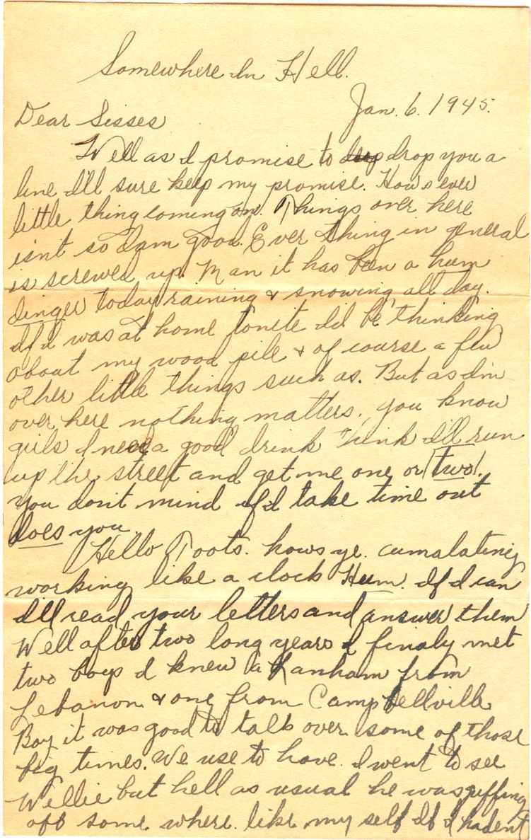 1945-01-06 - letter L - p.1 - 3 pages - 3.25 X  6.125 bifolded on 6.125 X 9.625 paper