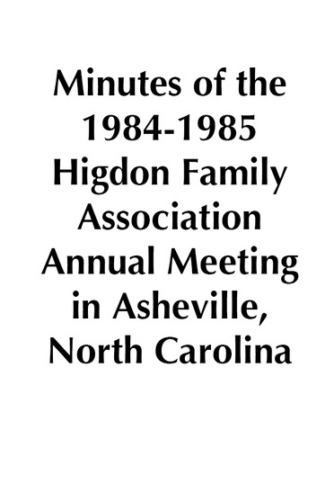1984-1985 HFA Annual Meeting Minutes
