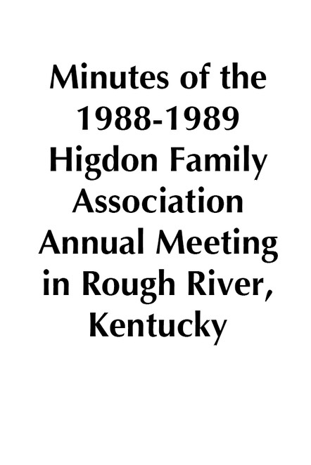 1988-1989 HFA Annual Meeting Minutes