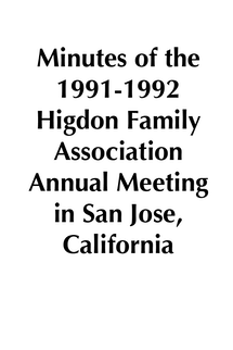 1991-1992 HFA Annual Meeting Minutes