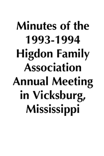 1993-1994 HFA Annual Meeting Minutes