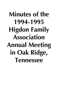 1994-1995 HFA Annual Meeting Minutes