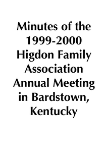 1999-2000 HFA Annual Meeting Minutes
