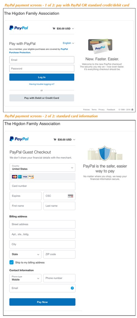 2 purchase sheets from PayPal.BB