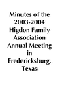 2003-2004 HFA Annual Meeting Minutes