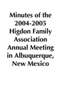 2004-2005 HFA Annual Meeting Minutes