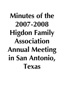 2007-2008 HFA Annual Meeting Minutes