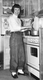 1956 - Mary Carmel in her mobile home in Cheyenne WY