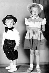 Denton Higdon age three, poses with cousin Shirley Sluder, age 6