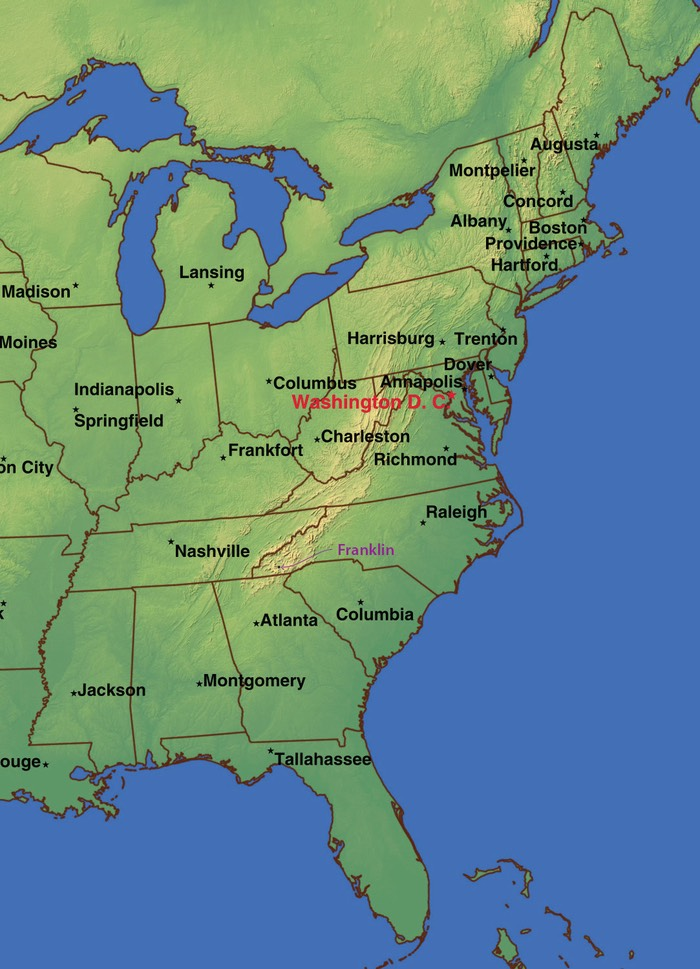 Franklin NC USA map