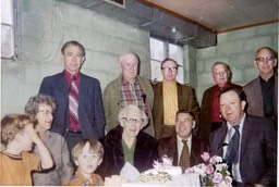 "In the picture are from L-R Stella Coggins Higdon, Sallie Crawford Higdon, Uncle Charlie, Sam Higdon  Denton     Lula ""Granny"" Shepherd Higdon birthday"