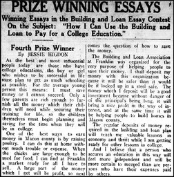 Jessie Higdon, Feb 24th 1927, prize-winning essay