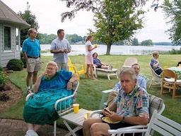 Lunch and relaxation at Nan Harrison's lakeside home