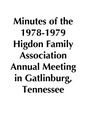 Minutes of the 1978-1979 Higdon Family Association Annual Meeting in Gaitlinbury, TN
