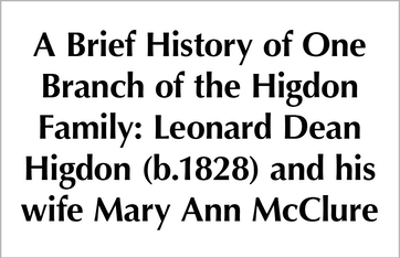 A Brief History of One Branch of the Higdon Family