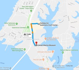 The Holiday Inn Solomons Conf Center & Marina to The Calvert Marine Museum 14200 Solomons Island Road Solomons MD.BIG copy