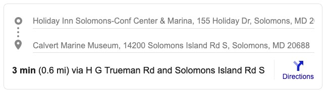 The Holiday Inn Solomons Conf Center & Marina to The Calvert Marine Museum 14200 Solomons Island Road Solomons MD.STATS copy