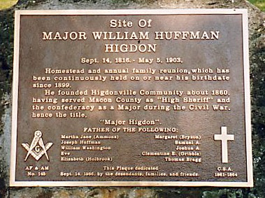 Major William Huffman Higdon Family Reunions