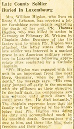 undated newspaper clipping, initial interrment