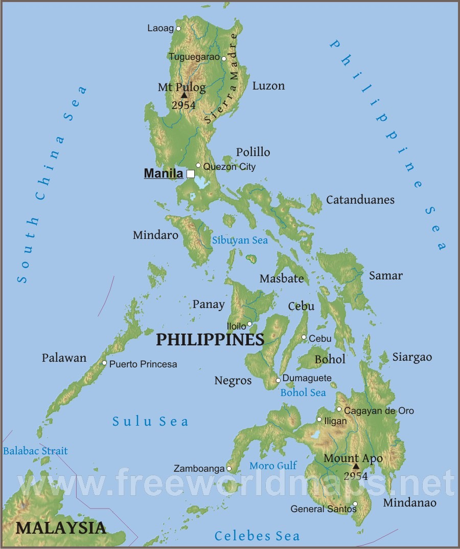 Philippines Islands Map The Philippine Islands   physical map | Higdon Family Association